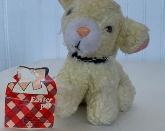 Vintage Easter Pets Stuffed Lamb Plush Toy Gift Kitsch Sheep 60s 70s toys Deadstock Holiday Kids Baby Gift NOS Teddy Bear easter basket girl