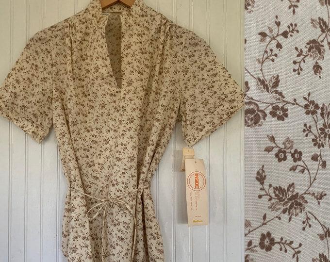 Rare Deadstock 70s Vintage Floral Top Size Medium White Brown 80s Short Sleeves Shirt Slit Neck Belt M Med Large M/L 38 Summer Blouse NOS