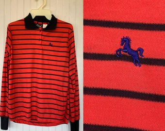 NWT 80s Vintage Red Black Striped Long Sleeve Polo Shirt Medium Top Deadstock Preppy Eighties Med Small M S/M Horse Logo Stripes