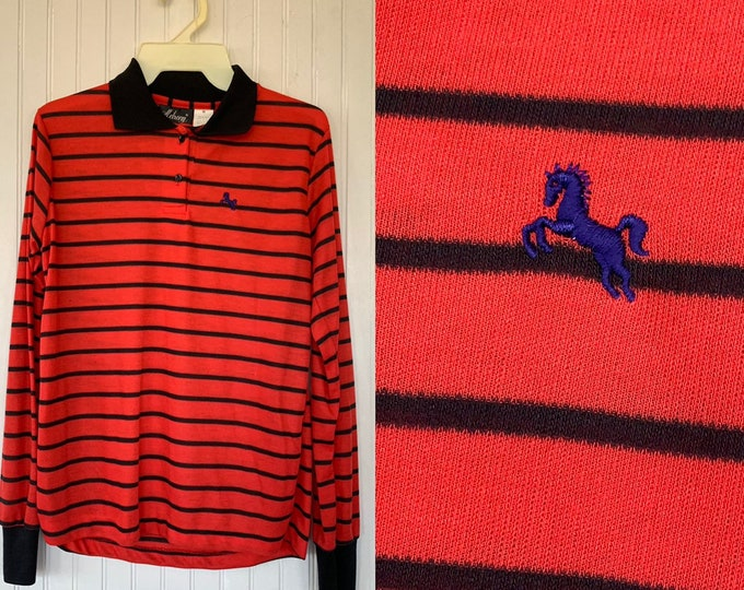 NWT 80s Vintage Garan Red Black Striped Long Sleeve Polo Shirt Large Top Deadstock Preppy Eighties L Lg M/L Unisex Horse Logo Stripes