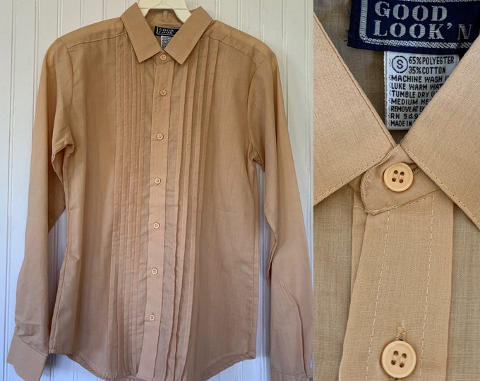 NWT Vintage Nude Beige Pleated Front Long Sleeve Shirt Top Button Down Shirt Small XS S Xs/s 32 Deadstock Western Boho sheer