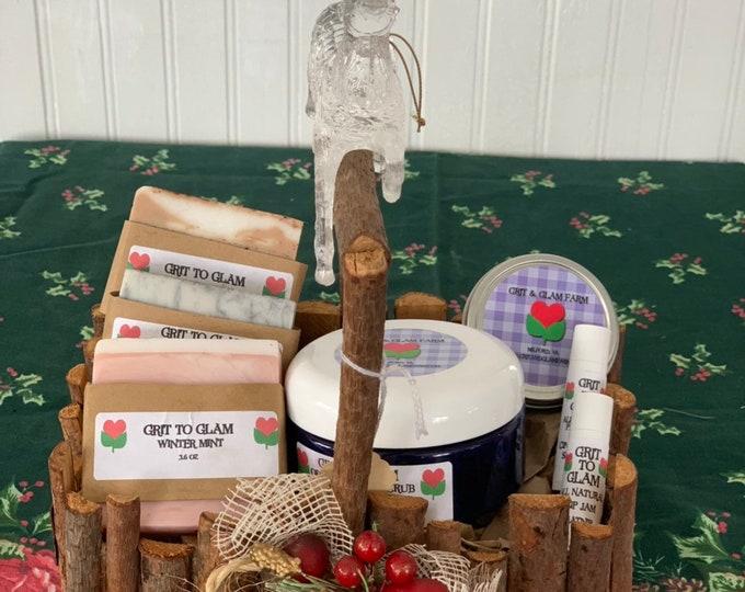 Large Holiday Gift Basket Grit to Glam All Natural Skincare Farm Catnip Soap Lip Skin Healing Winter Skin Eczema Acne Safe Vintage