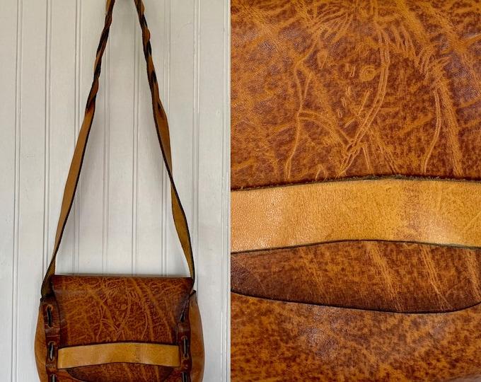 Vintage Boho 60s 70s Hand Made Tooled Leather Horse Handbag Purse Brown Shoulder Bag Horses