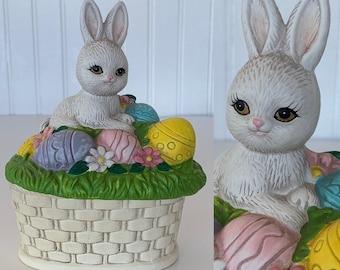 Vintage 80s Kitsch Easter Egg Bunny Ceramic Keepsake Figurine Rabbit Lefton Rainbow Miniature Boxes Basket Spring Baby Gift Decor Jewelry