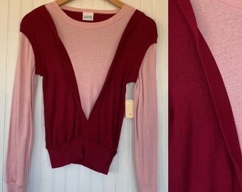 Vintage 70s Small Long Sleeve Top / Shirt Pink Maroon Red XS XS/S Sportswear Comfy Basics NOS 80s Pullover Sweater