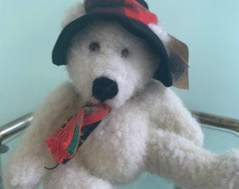 Vintage Holiday 90s NWT Small Plush Polar Bear Stuffed Animal Christmas Toy Stocking Stuffer Nineties Gift Kids Toys Deadstock Rare