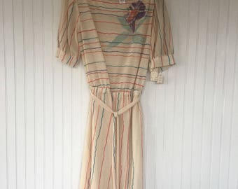 Vintage 70s Size M Nude Off White Beige Striped Orange Purple Aqua Sheer Dress Pinup Medium Sexy Ladylike New Tags from 1979 Seventies Gift