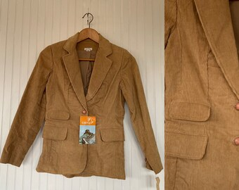NWT Vintage 80s Corduroy Blazer Tan Jacket Coat Medium S/M S Med Small 70s Deadstock Cord Pockets Wide Collar Boho Puff Sleeve Shoulder Pads