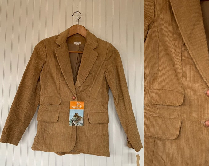 NWT Vintage 80s Corduroy Blazer Tan Jacket Coat Medium S/M S Med Small 70s Deadstock Cord Pockets Wide Collar Boho Puff Sleeve Shoulder Pads
