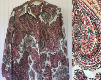 So Groovy Vintage 70's Paisley Pink Green Brown and White Blouse Shirt Button Down Long Sleeved Wide Collar Disco Style