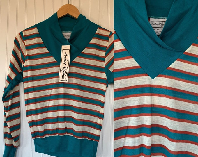 Deadstock Vintage 70s Small Horizontal Striped Long Sleeve Top Shirt Teal Orange white Sportswear 80s XS S Xs/S Disco Rollergirl