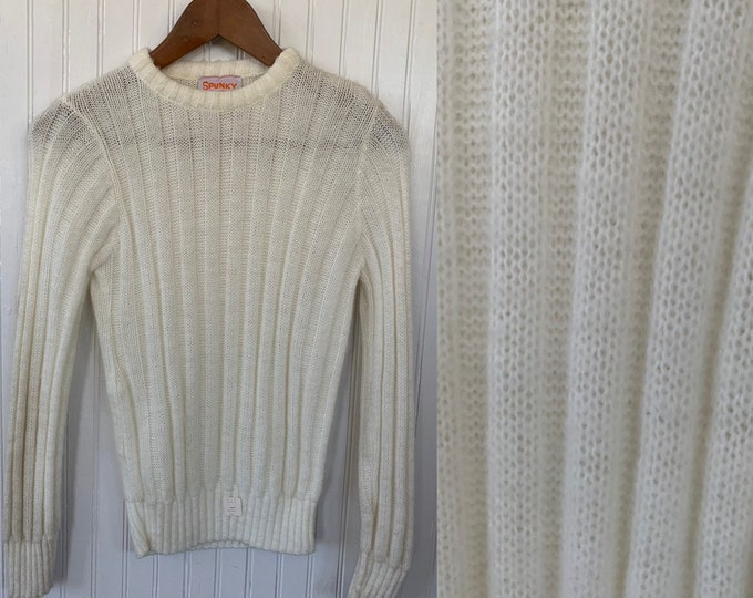 NWT Vintage 80s Off White Sheer Sweater  Medium Long Sleeves Shirts Deadstock 70s Boho Unique NOS soft Ivory Spunky New York