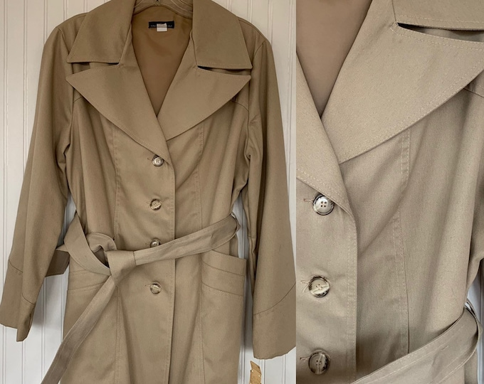 NWT Vintage 80s Khaki Trenchcoat Tan Jacket Coat Medium M Med 70s Deadstock Trench Spring Jackets Belted Pockets Wide Collar
