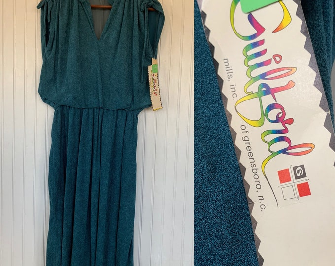 Vintage Deadstock Medium Teal Blue Green Terry Cloth Dress 70s 80s Terrycloth Sporty Eighties Vacation M/L Large Spring Summer Dresses
