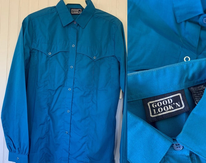 Deadstock Vintage Bright Blue Snap Front Long Sleeve Shirt Top Button Down Shirt Small Xs xs/s 34 Western Boho snaps Cowgirl
