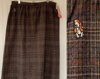 Vintage 80s Deadstock Hush Puppies Tweed Skirt Brown Red Black White Blue Multi Large L 16 31 Waist New Tags Below Knee High Waisted 70s
