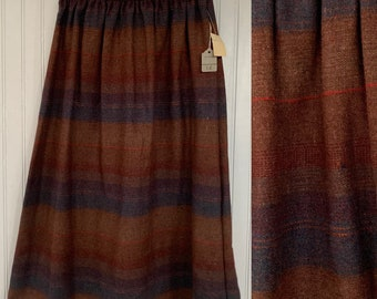 Vintage Deadstock 80s XS Earth Tones Plaid Skirt Brown Rust Red Green Stripe Below Knee Elastic Waist Boho 70s XXS 24