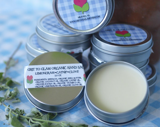 Organic Lemongrass Catnip Clove Hand Body Salve Farm Made Healing Dry Skin Natural Hair Repels Bugs Softens Lips Arthritis Eczema