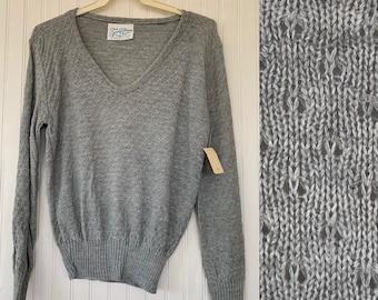 NWT Vintage 80s Medium Gray V Neck Pullover Knit Sweater Deadstock 70s nos Med M Grey Textured Sheer Boho Tops Spring Seasons