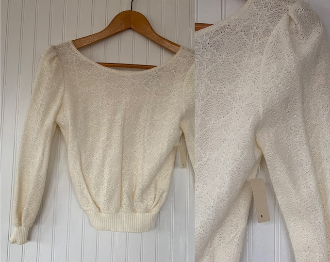 NWT Vintage 80s Off White Sheer Knit Striped Shirt Sweater Small S XS Long Sleeves Shirts Deadstock Top Deep V Back 70s Ivory Puff Sleeve