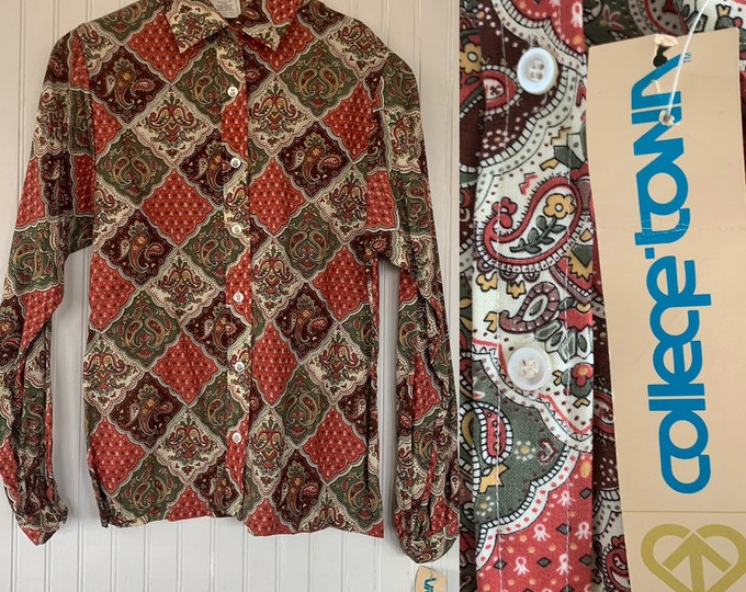 Vintage Deadstock 80s XS Paisley Print Button Down Shirt Long Sleeve Red Green Yellow White Floral Groovy Disco Blouse  trippy 70s 32 bust S