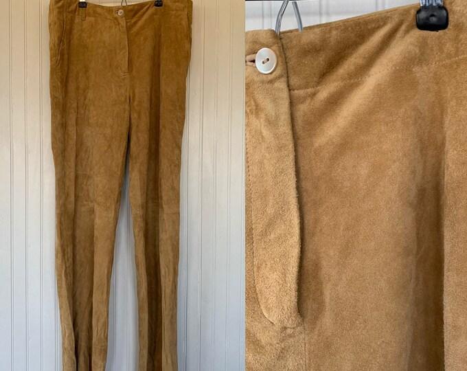 Vintage 90s Size 8 Medium Light Brown Suede Leather Pants Western Biker Motorcycle Nineties Nude Festival 32 Waist Boho Fenn Wright Manson