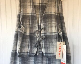 Vintage Plaid Vest and Skirt Set Gray Blue White Size XS - New With Tags from 1979 70s tie front suit tartan