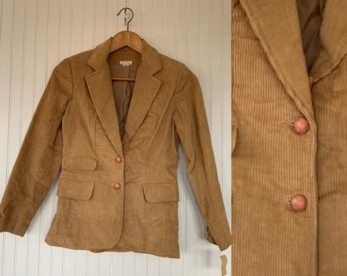 NWT Vintage 80s Corduroy Blazer Tan Jacket Coat Small S XS XS/S 70s Deadstock Spring Cord Pockets Wide Collar Boho Puff Sleeve Shoulder Pads