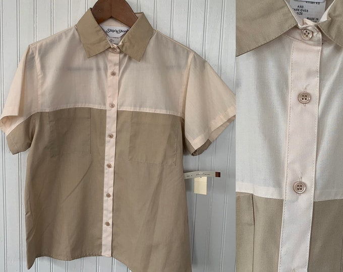 Vintage NWT 80s Vintage Cream Ivory Off White Khaki Short Sleeve Shirt Button Down Pockets Small XS 34 Deadstock Festival Safari Office