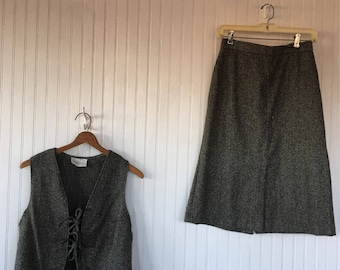 Vintage Plaid Vest and Skirt Set Tweed Black White Size Small S XS - New With Tags from 1979 70s tie front suit tartan plaid