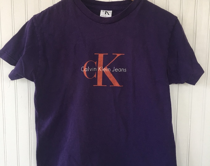 Vintage 90s Calvin Klein CK Jeans Tee Shirt Babydoll Cropped Purple Orange Logo Nineties small S Top Rare