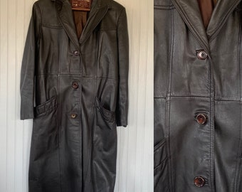 Vintage 70s Large / Medium Brown Leather Jacket Midi 38 Seventies Trench Coat M/L Pockets Spring Outerwear