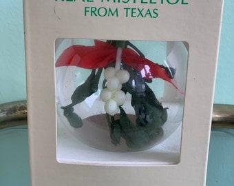 Vintage 80s NWT Real Mistletoe Kissing Ball Glass Ornament Christmas Tree Ornaments Original Box Holiday Decorations Stocking Stuffer Gift