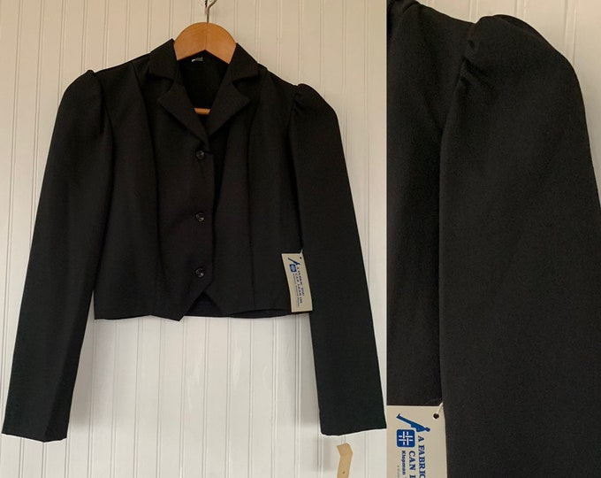 NWT Vintage 80s Black Cropped Blazer Puff Sleeves XS S XS/S Deadstock Goth Pinup Crop Jacket Boho
