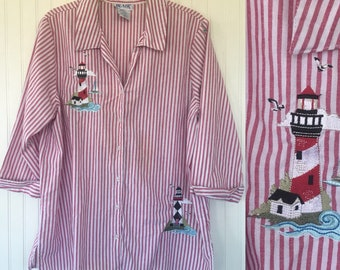 Vintage 90s Red White Striped Lighthouse Button Down Shirt - Size Medium - Lighthouses Summer Blouse Fits S M L Stripes Cover Up Top 80s