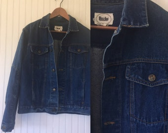Vintage 80s Jean Jacket Denim Coat Live Ins Size Large L Med M LG Eighties