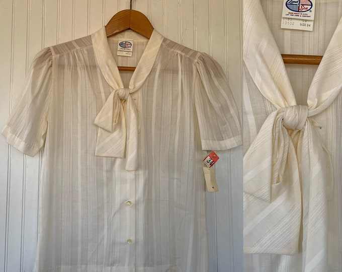 Vintage NWT 80s Vintage Ivory Off White Puff Sleeve Ruffle Sheer Shirt Size Small Medium S S/M 34 Button Down Shirt 70s Deadstock Boho Tie
