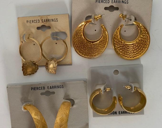 Vintage 90s Deadstock Faux Gold Hoop Earrings Lot 4 Pairs Unique Pierced Ears NOS Unworn Funky 80s Jewelry Hip Hop Nineties