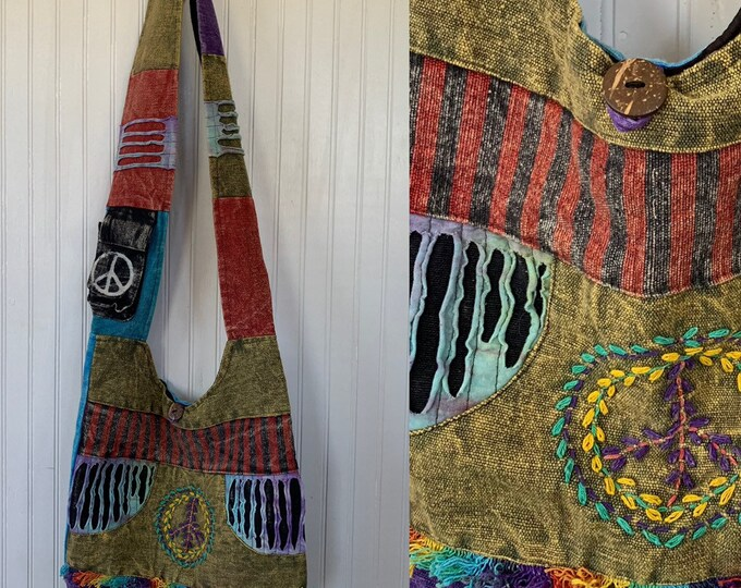 Vintage 90s Rainbow Festival Hippie Shoulder Bag Patchwork Embroidered Tie Dye Peace Sign Pockets Purse Carryall Tote Bags Purse