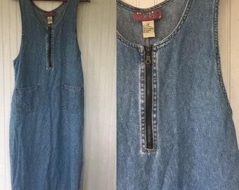 Vintage 90s Denim Jumper Blue Jean Sleeveless Dress Medium M Med 6 8 10 Summer Dresses Sundress Festival