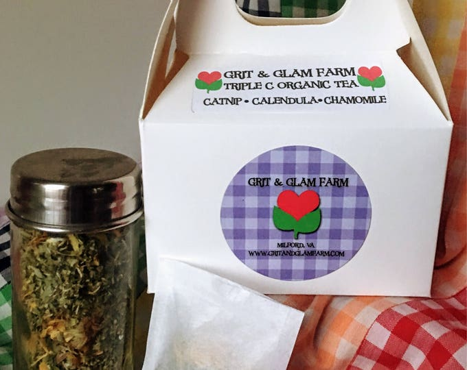 Migraine Relief Tea Grit & Glam Farm Triple C Herbal Teas Catnip Calendula Chamomile Calming Insomnia Cramps Headache Hair Tonic 10 Bags