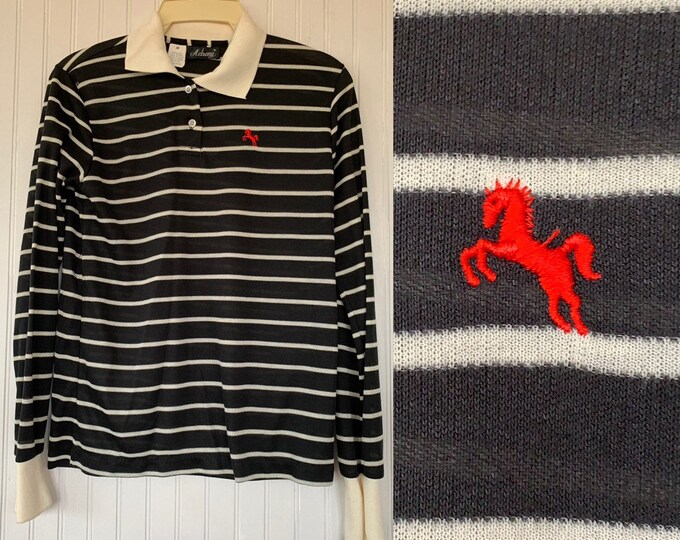 NWT 80s Vintage Garan Black White Red Striped Long Sleeve Polo Shirt Medium Top Deadstock Preppy Eighties Med Small M S/M Horse Logo Hipster