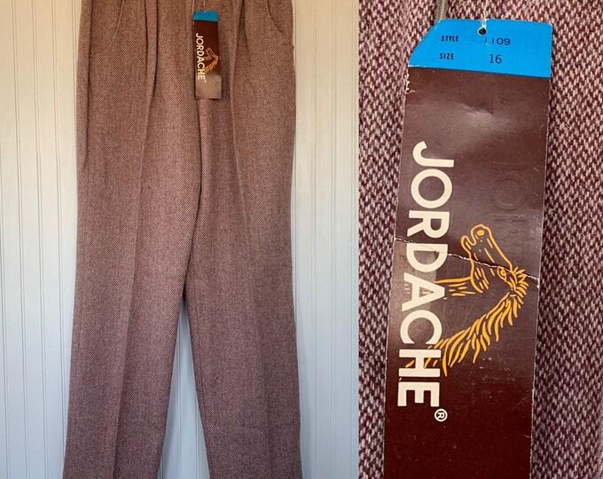 efff5dd34e3a NWT Vintage 80s Jordache Deadstock Tweed High Waisted Trousers 30 Dark Red  Maroon Beige Herringbone Large