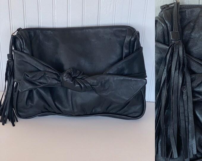 Vintage 80s Meyers Black Leather Clutch Handbag With Fringe Tassel Bow Evening Bag Purse
