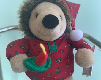 Vintage Holiday 90s NWT Mini Plush Hedgehog Stuffed Animal Christmas Toy Stocking Stuffer Nineties Porcupine Gift Kids Toys Deadstock Rare