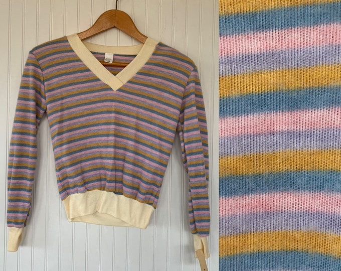 NWT Vintage 80s Striped Shirt Pastel Pink Gray Teal Tan Sweater Medium Med M Long Sleeves Shirt Deadstock Top Valentines Vneck