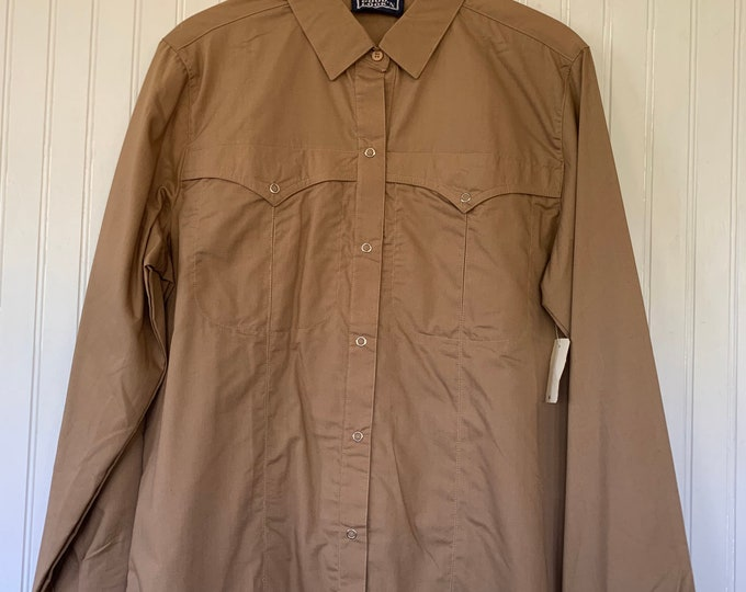 Deadstock Vintage Beige Snap Front Long Sleeve Shirt Size Large Top Button Down Shirt M/L 38 Western Boho snaps Nude Light Brown