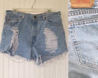 Vintage 90s Levis 550 Shredded High Waisted Short Shorts Frayed Blue Jeans Shorts Holes Destroyed Denim Nineties Size 34 Waist Worn In
