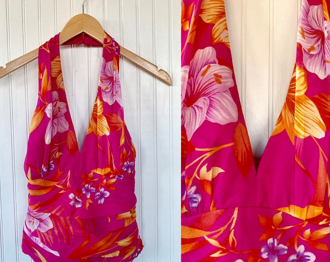 Vintage 90s Cache Pink Tropical Floral Print Silk Halter Ruched Top Shirt Evening Wear Dress Shirt 8 Medium M Med Nineties Hawaiian Sexy