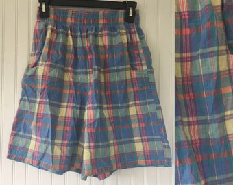 Vintage 90s XS Small Madras Plaid Long Shorts High Waist Elastic Soft Nineties Summer Short High Waisted